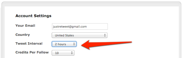 JustRetweet Account Settings