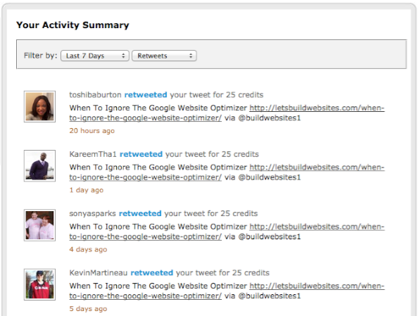 JustRetweet Activity Summary