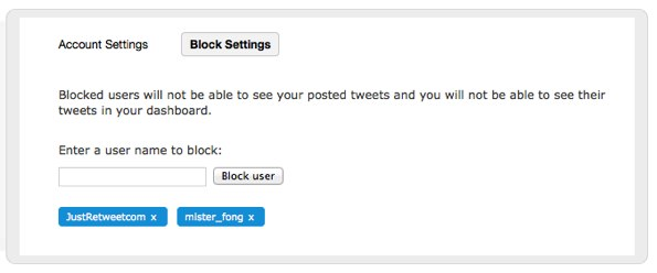 Block Settings - JustRetweet